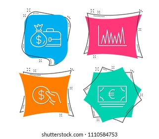 Set of Payment, Salary and Line graph icons. Euro currency sign. Usd coin, Diplomat with money bag, Market diagram. Eur banking.  Flat geometric colored tags. Vivid banners. Trendy graphic design