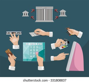 set of payment types. Human hands holding credit cards. clearing settlement, bank, payment pass, vector design