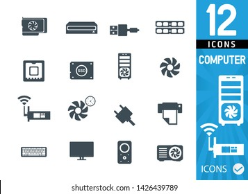 Set of pc and pc component icons, video card, network card, ram, usb cable, processor, ssd, proiector, keyboard, monitor