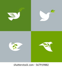 Set of peace doves. Flat style vector logo template of white pigeon with olive branch