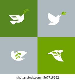 Набор голубей мира. Плоский стиль векторный логотип шаблон белого голубя с оливковой ветвью