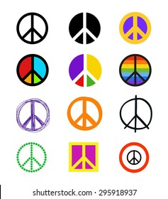Set of peace signs. Colorful peace symbols in different styles. Vector eps10.