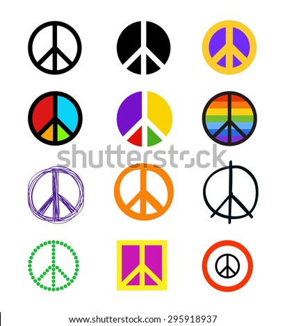 Set Peace Signs Colorful Peace Symbols Stock Vector Royalty Free