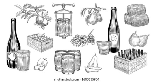 Set of pear and apple cider. Harvest pears, apples, press, barrel, glass and cider bottle. Hand drawn craft fruit beer collection. Engraving vintage style. Vector illustration.