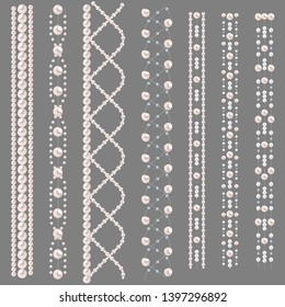 Set of pearl borders isolated on gray background. Vector dividers for decoration, wedding invitation or greeting cards, banners.