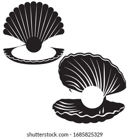 Set of the pearl icon. Vector illustration.
