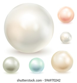 Set of pearls, isolated on a white background. Vector illustration