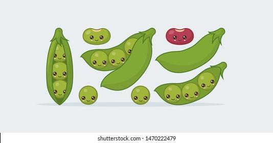 Set peas in a pod, bean. Cute kawaii smiling food. Vector illustration