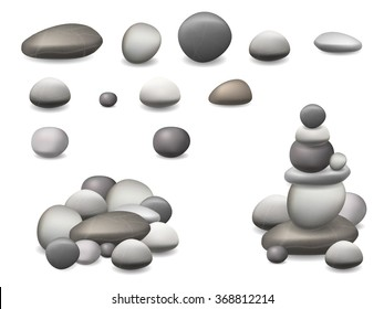 Set of pebbles and natural stones of different shapes and colors. With examples of use. Realistic vector illustration, isolated on white background.