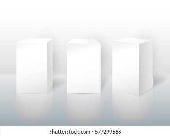 Set of pedestal for display. Platform for design. Realistic 3D empty podium. Vector illustration EPS 10. Isolated on white background.