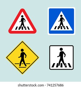 Set of pedestrian crossing sign isolated on background. Vector illustration. Eps 10.