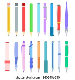 Set of pen, pencil, felt-tip pen and marker on white, stock vector illustration
