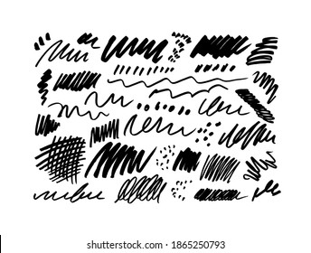 Set of pencil or charcoal brush strokes. Pencils doodle drawing and scratches. Vector freehand lines, dots, small dashes. Sloppy pencil strokes collection. Monochrome sketches, chaotic scribbles