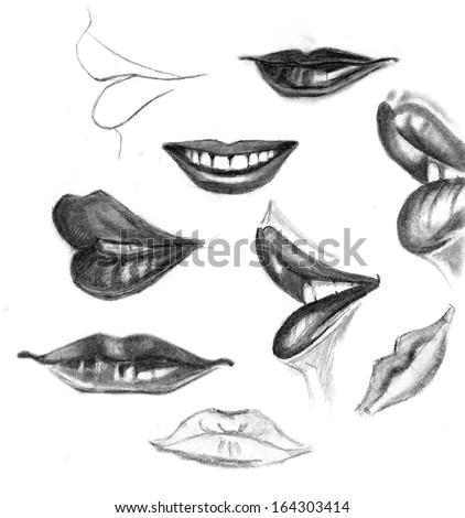 Set Pencil Drawing Lips Autotraced Realistic Stock Vector Royalty
