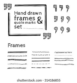 Set of pencil drawn quote marks and frames isolated on white background. Quote text bubble. Editable vector