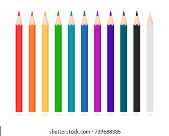 Set of pencils. Colorful drawing equipment illustration