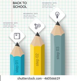 Set of pencils columns of data. Education vector infographics