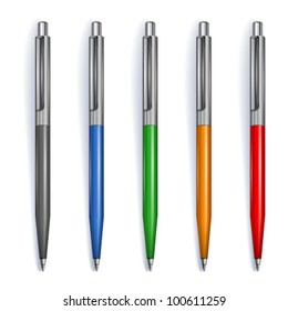 Set of pens in different colors