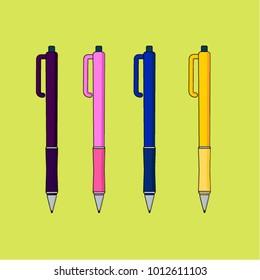set of pens illustration