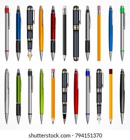 Set of pens and pencils, tools for writing drawing, isolated on white. Vector illustration.