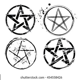 Set of pentagrams painted in black on white background.