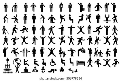 Set people action pictogram black
