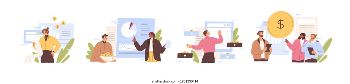 Set of people analyzing personal or corporate budget isolated on white background. Concept of finance accounting and calculation of financial income and expenses. Colored flat vector illustration
