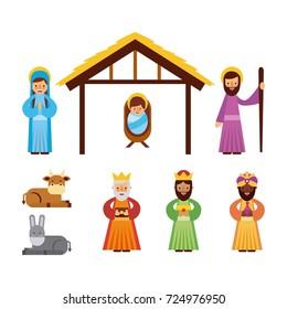 set of people animal manger christmas holiday