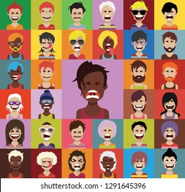Set of people avatars in flat style with faces. Vector women, men with color background 05