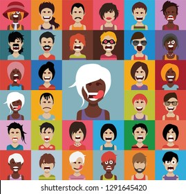 Set of people avatars in flat style with faces. Vector women, men with color background 04
