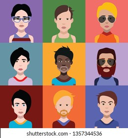 Set of people avatars in flat style with faces. Vector women, men with color background 7