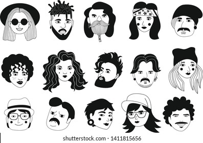 Set of people avatars in flat style. Portraits of various men and women. Trendy black and white icons collection. Vector illustration.