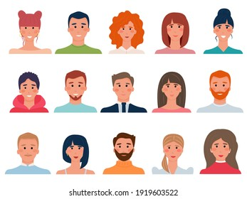 Set of people avatars in flat style. Diversity group of young men, boys, girls, women, transgender people. Brunettes, brown-haired, blondes and redheads. Vector illustration