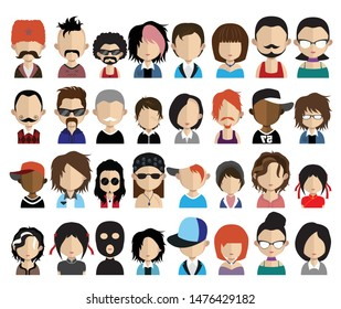 Set of people avatars, icons in flat style with faces. Vector women, men character - Vector 4