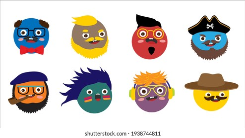 Set of people avatars. Round comic funny faces. Cute bright characters, different emotions, facial expressions. Flat cartoon isolated vector