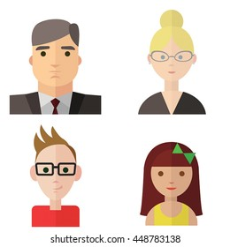 set of people, business man, business woman, hipster, girl