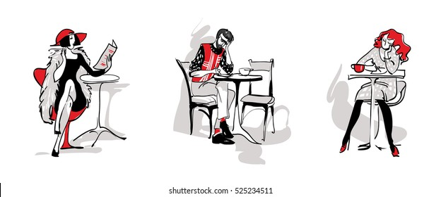 set of people in the cafe,a man and a woman writes an article, the journalist writes with a pen, reading the newspaper, drinking coffee from a Cup. Stylish, linear black, white, red freehand drawing