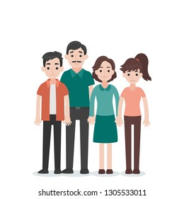 Set of People Character Family concept,uncle, aunt , grandchild, nephew, niece, cartoon character flat design vector on white background.