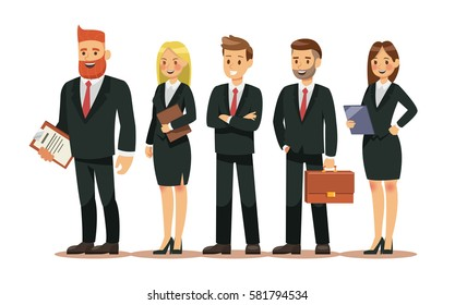 Set of people characters for business. Business people wear Suits hold bag and folder. Vector illustration design.