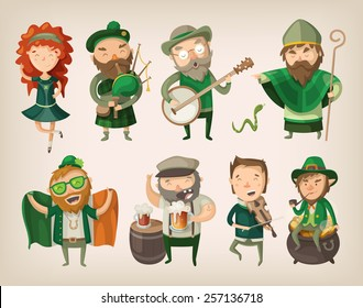 Set of people and characters you can find in an irish pub at saint Patrick's day.