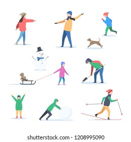 A set of people, children and dog active in the winter outdoors. Playing snowballs, skiing, sledding, clearing snow, running, having fun. Vector illustration isolated on white background
