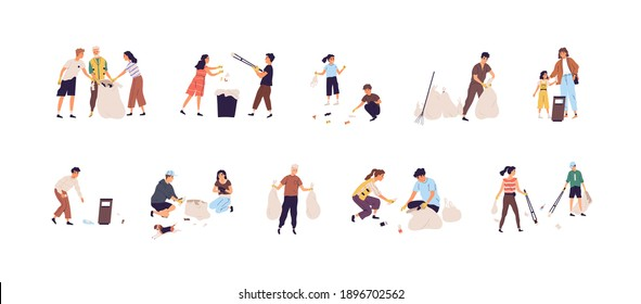 Set of people collecting garbage into bags and throwing rubbish into trash can. Children and adults cleaning nature by picking up litter. Colored flat vector illustration isolated on white background