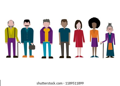 Set of  people, collection of diverse characters in flat cartoon style, vector illustration. Vector illustration