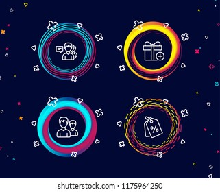 Set of People, Couple and Add gift icons. Discount tags sign. Support job, Two male users, Present box. Sale coupons.  Circle banners with line icons. Gradient colors shapes. Vector