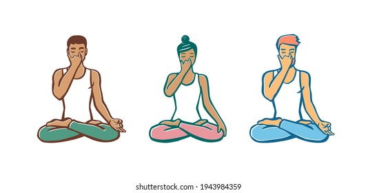 Set of people in cross-legged pose practicing breathing exercise. Nadi shodhana Pranayama technique. Calligraphy inscription. Vector illustration for logotype, poster, magazine, t-shirt