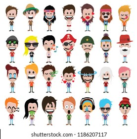 Set of people cute cartoon characters, emoji