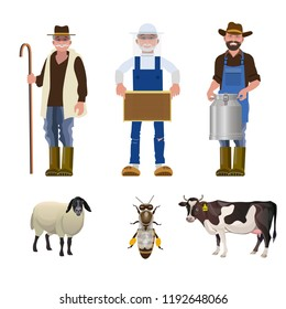 Set of people of different agricultural professions together with its products: milkman, beekeeper and shepherd. Vector illustration isolated on white background