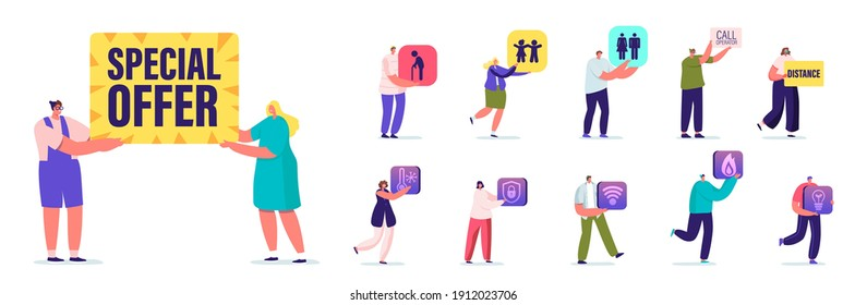 Set People with Different Banners. Male Female Characters Holding Signboard Special Offer, Senior Person and Kids, Call Operator Men and Women Isolated on White Background. Cartoon Vector Illustration