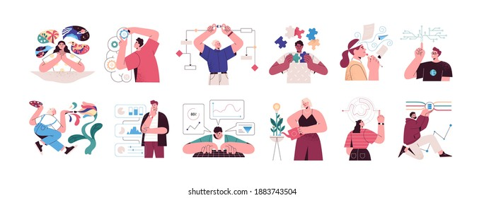 Set of people with different mental mindset types or models: creative, imaginative, logical and structural thinking. Mind behavior concept. Color flat vector illustration isolated on white background
