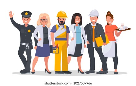 Set of people of different occupations Doctor, Waiter, Business woman, Engineer, Builder, Policeman. World's most in demand proffesions. Labor day concept vector illustration.